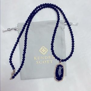 Kendra Scott Black stone/beaded chain necklace